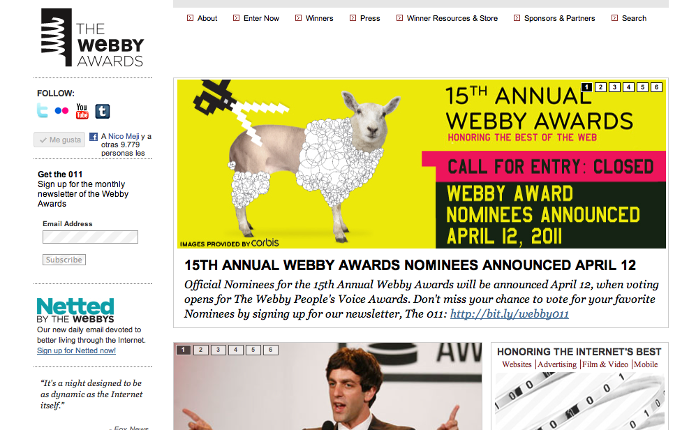 webby awards. May 3, 2011: Webby Award and